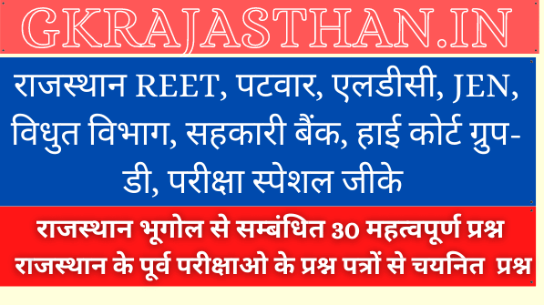 Rajasthan Geography Important Questions Part-1