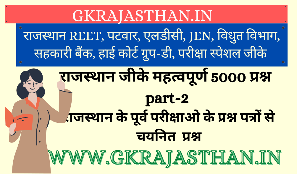 Rajasthan GK Important 5000 Questions Part-2